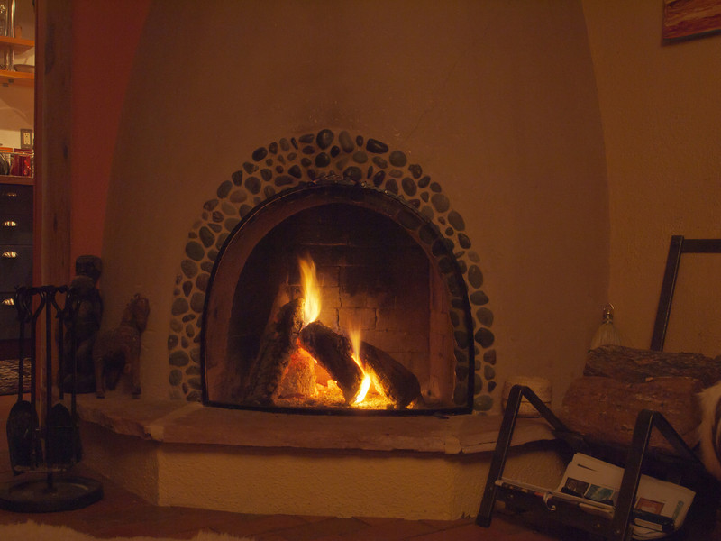 Back at the casita, we built a fire in the kiva fireplace.  There is no grate and the logs  are positioned vertically.