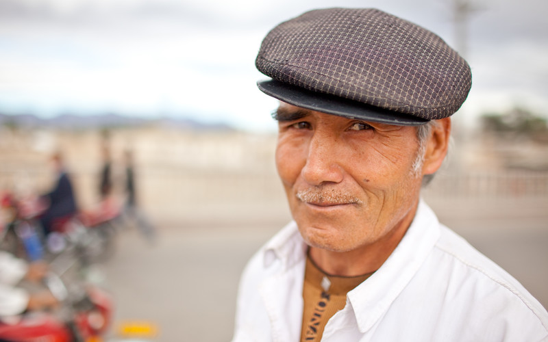 Portrait of Uyghur man in Kucha, Xinjiang, China.
