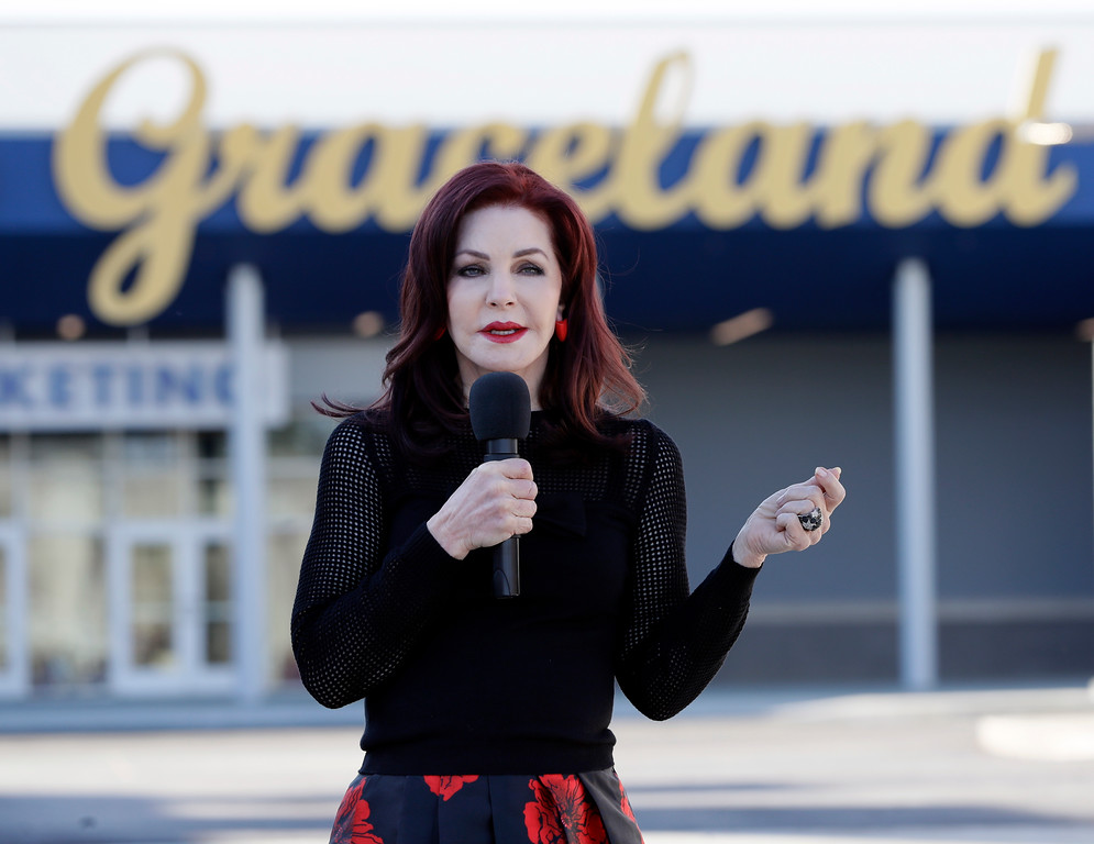 """. Priscilla Presley, former wife of Elvis Presley, speaks during the grand opening of the \""""Elvis Presley\'s Memphis\"""" complex on Thursday, March 2, 2017, in Memphis, Tenn. Nearly four decades after Elvis sang his last tune, his legacy got a $45 million boost with the opening of a major new attraction at his Graceland estate -- an entertainment complex that Priscilla Presley says gives \""""the full gamut\"""" of the King of Rock \'n\' Roll. (AP Photo/Mark Humphrey)"""