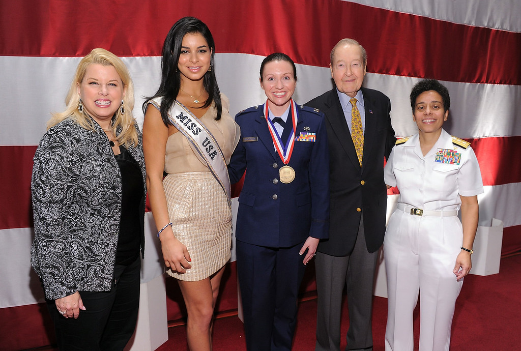 . (L-R) Rita Cosby, Miss USA Rima Fakih, Captain Wendy Sue Buckingham, Oliver Mendell and Rear Admiral Michelle Howard attend the USO 45th Annual Woman Of The Year Luncheon honoring Military Women and Women Business Leaders at the Grand Ballroom at The Waldorf=Astoria on April 26, 2011 in New York City.  (Photo by Mike Coppola/Getty Images for USO of Metro New York)