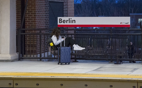 11/21/19 Wesley Bunnell | Staff A passenger waits for a north bound Amtrak train in the Berlin train station on Friday evening November 22, 2019.
