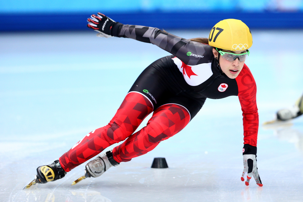 . Valerie Maltais of Canada competes in the Short Track Ladies\' 1000m Heat at Iceberg Skating Palace on day 11 of the 2014 Sochi Winter Olympics on February 18, 2014 in Sochi, Russia.  (Photo by Paul Gilham/Getty Images)