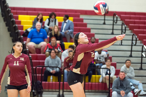 10/10/19 Wesley Bunnell | StaffrrNew Britain girls volleyball vs Tolland at New Britain High School on Thursday evening. Audrey Belliveau (22).