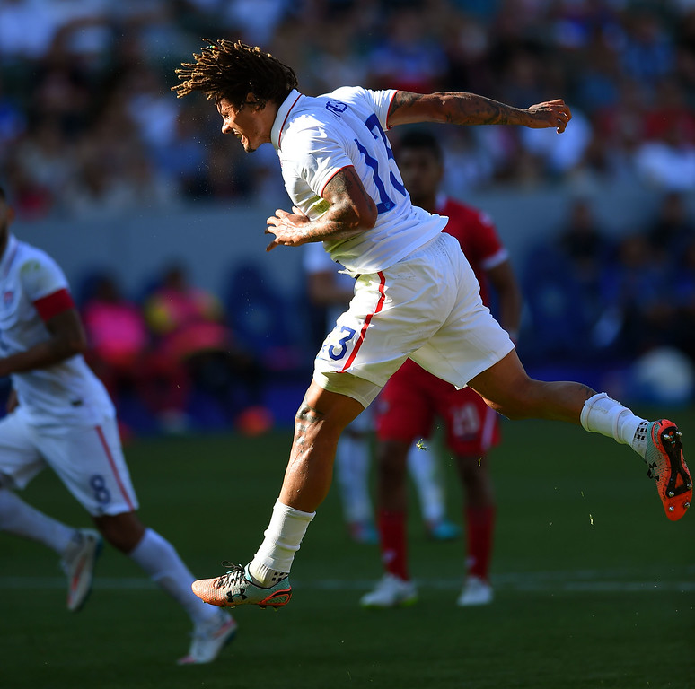 . USA�s Jermaine Jones flicks the ball toward the goal at the StubHub Center in Carson, CA on Sunday, February 8, 2015. US men\'s national team beat Panama 2-0 in an international friendly soccer match. 2nd half. (Photo by Scott Varley, Daily Breeze)
