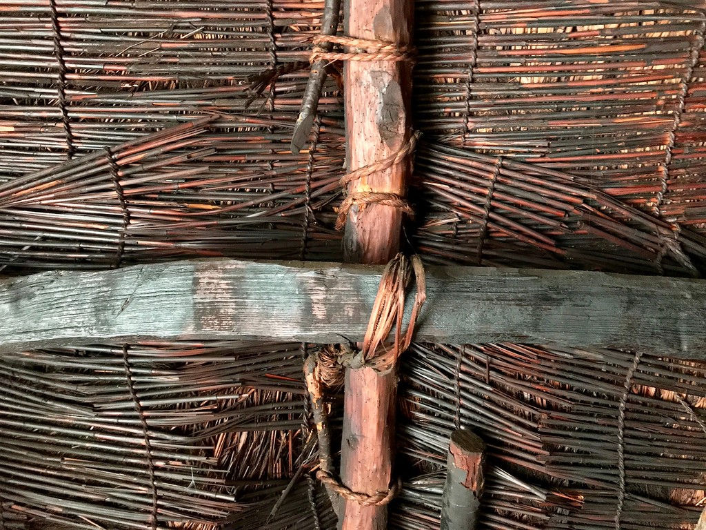 Close-up of woven thatch.