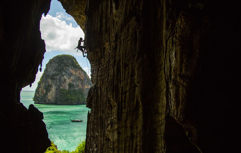 """Best Route in Minnesota"" 6c, 13 bolts, 25m, Escher Wall, Pra Nang Beach, Krabi, Thailand."