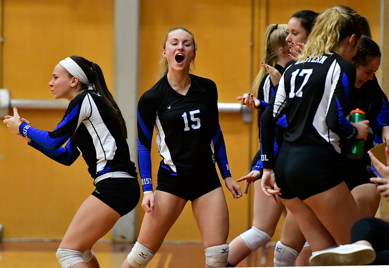 11/14/2018 Mike Orazzi | Staff Bristol Eastern celebrates during the Class L Semifinal State Girls Volleyball Tournament with Woodstock Academy held at Windsor High School Wednesday night.
