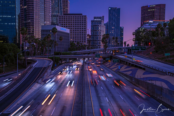 Sunset and Light Trails in Downtown LA