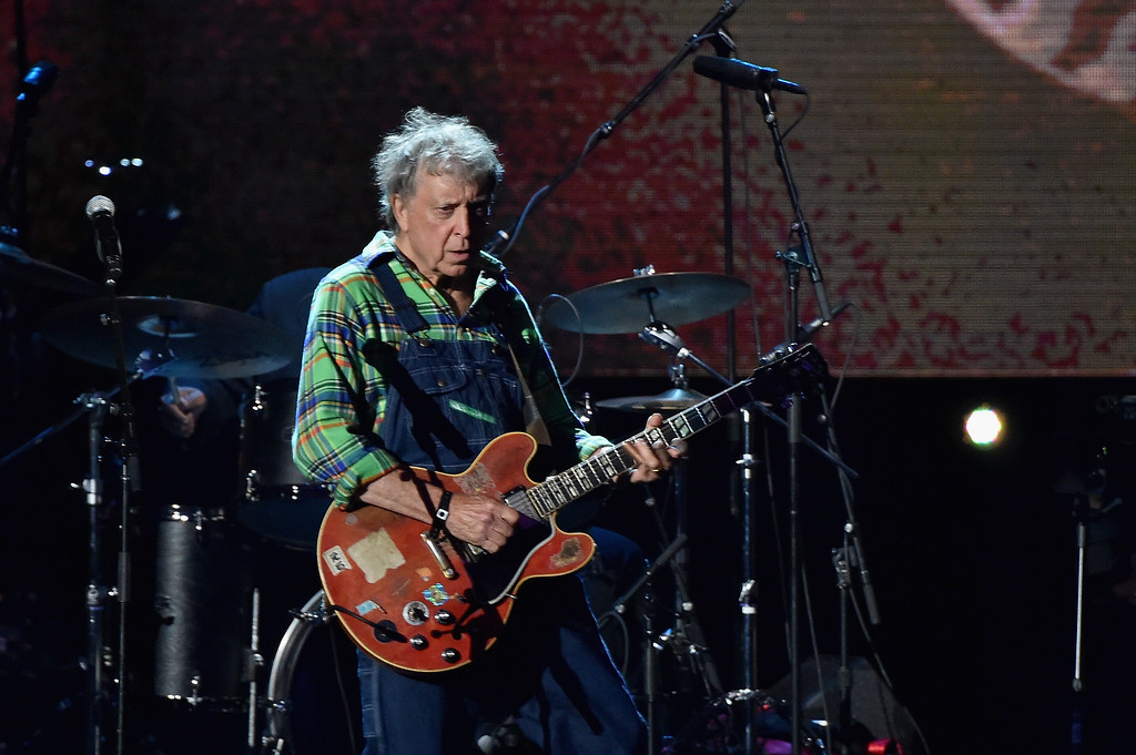 . Inductee Elvin Bishop of Paul Butterfield Blues Band performs onstage during the 30th Annual Rock And Roll Hall Of Fame Induction Ceremony at Public Hall on April 18, 2015 in Cleveland, Ohio.  (Photo by Mike Coppola/Getty Images)