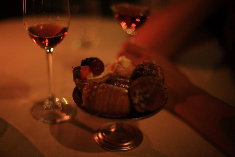 Dessert and dessert wine at the restaurant at Castello di Spaltenna.