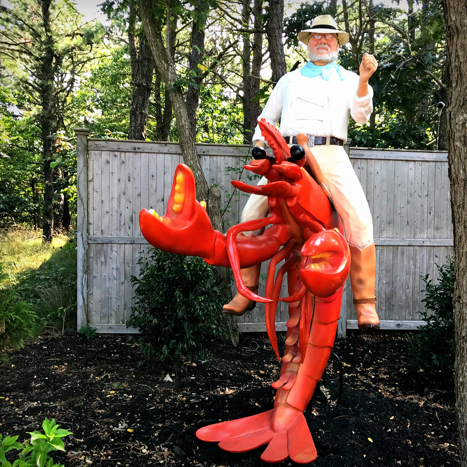 Roadside Attraction Statue of Dan Riding a Lobster in Southampton, NY