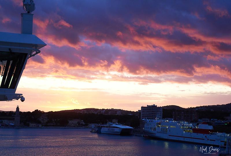 Sailing from Palma de Mallorca at sunset