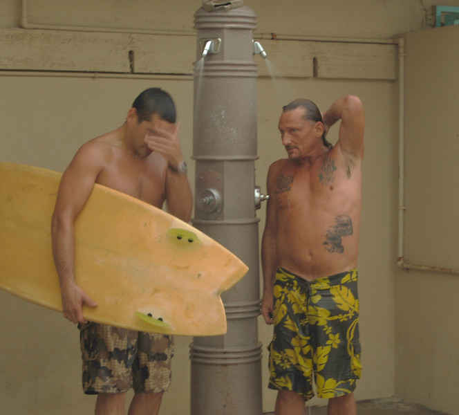 A post surfing shower to get rid of the sand and salt.