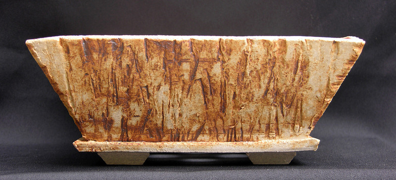 One of the Petrified Rock Series.  Petrified Rock impressed stoneware 9 x 9 x 3 1/2 inches. $35