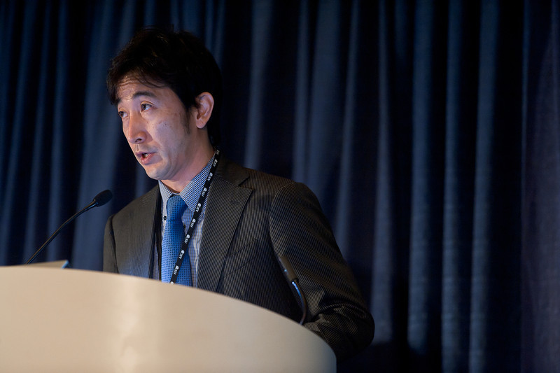"Chicago, IL - ASCO 2013 Annual Meeting: - Takahide Taguchi, MD,  during ""#6004 Takahide Taguchi, MD Adjuvant chemotherapy with S-1 after curative treatment in patients with head and neck cancer (ACTS-HNC). "" at the American Society for Clinical Oncology (ASCO) Annual Meeting here today, Sunday June 2, 2013.  Over 30,000 physicians, researchers and healthcare professionals from over 100 countries are attending the meeting which is being held at the McCormick Convention center and features the latest cancer research in the areas of basic and clinical science. Photo by © ASCO/Brian Powers 2013 Technical Questions: todd@toddbuchanan.com; ASCO Contact: photos@asco.org"