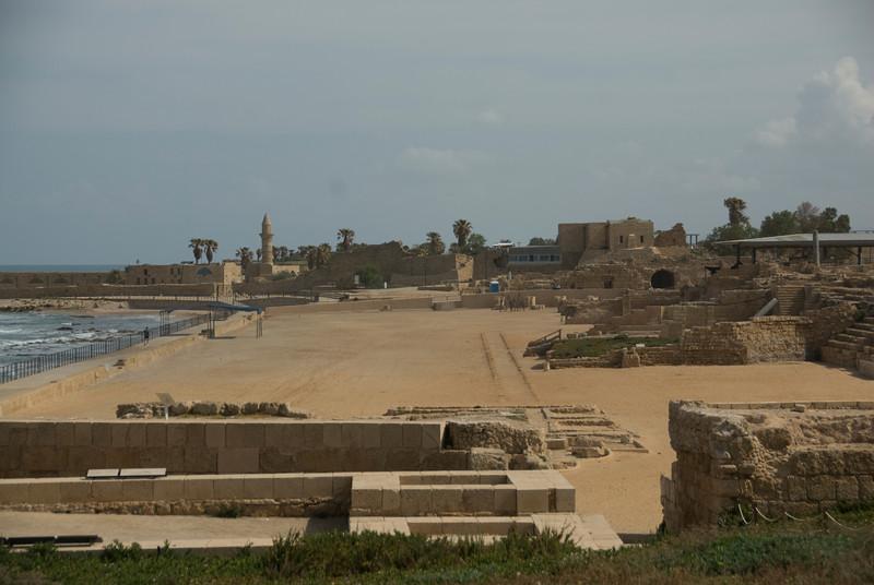 Sea Coast and Ruins of Caesarea Maritima in Israel