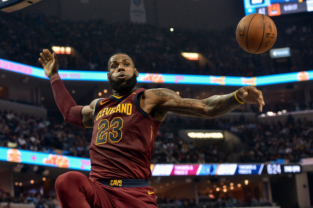 . Cleveland Cavaliers forward LeBron James (23) plays in the first half of an NBA basketball game against the Memphis Grizzlies Friday, Feb. 23, 2018, in Memphis, Tenn. (AP Photo/Brandon Dill)