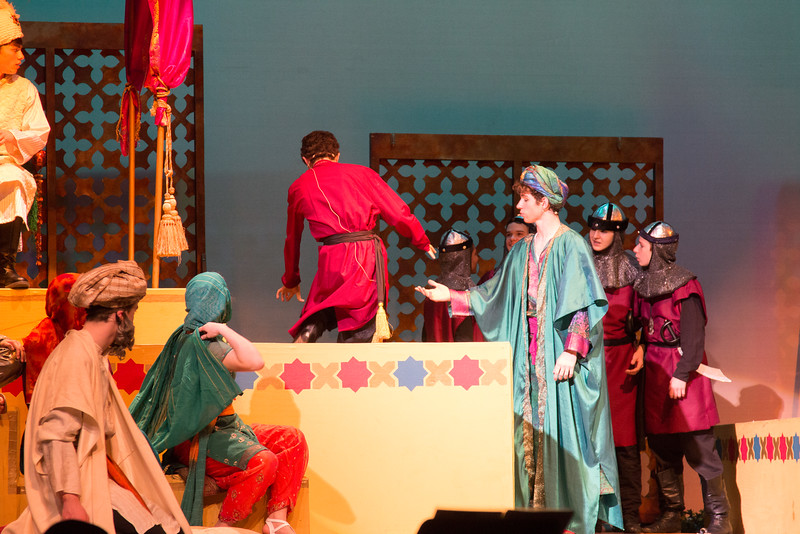 Wazir goes into pool of water... -- Kismet, Montgomery Blair High School spring musical, April 15, 2016 performance (Silver Spring, MD)