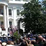 Queen Elizabeth II makes remarks after being welcomed by President George W. Bush