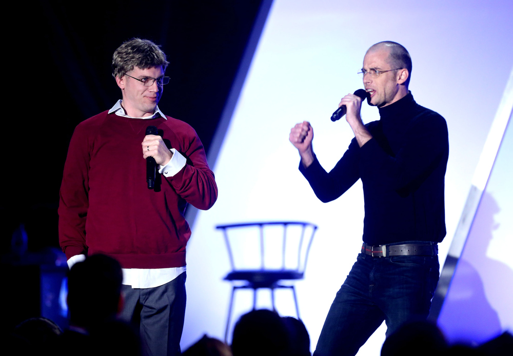 Description of . YouTubers Epic Lloyd and Nice Peter perform onstage at the 3rd Annual Streamy Awards at Hollywood Palladium on February 17, 2013 in Hollywood, California.  (Photo by Frederick M. Brown/Getty Images)