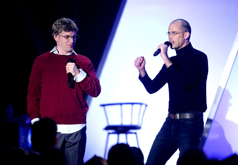 . YouTubers Epic Lloyd and Nice Peter perform onstage at the 3rd Annual Streamy Awards at Hollywood Palladium on February 17, 2013 in Hollywood, California.  (Photo by Frederick M. Brown/Getty Images)