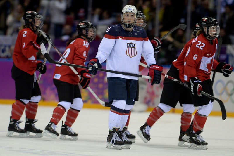 . Hlary Knight (21) of the U.S.A. reacts to Canada\'s second goal of the period, a shot by Marie-Philip Poulin (29) during the third period of the women\'s gold medal ice hockey game. Sochi 2014 Winter Olympics on Thursday, February 20, 2014 at Bolshoy Ice Arena. (Photo by AAron Ontiveroz/ The Denver Post)