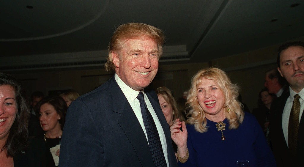 . Billionaire Donald Trump moves through Avon Centre on the sixth floor of Trump Tower in New York Tuesday, Oct. 19, 1999.  (AP Photo/Stephen Chernin)
