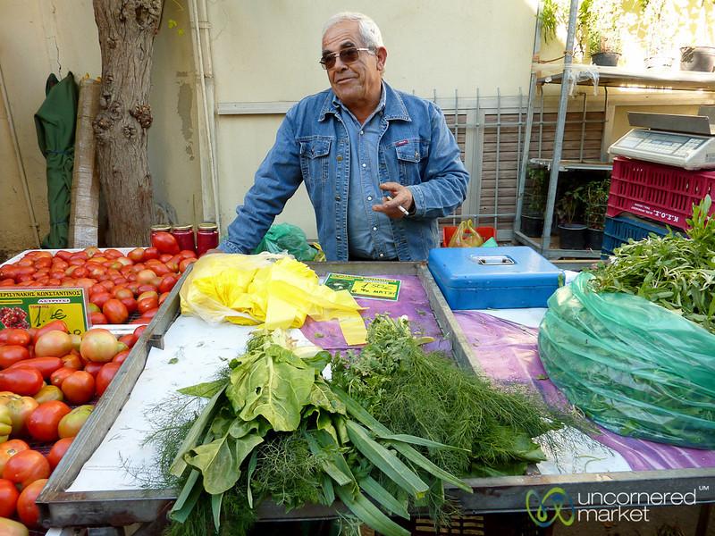 Greens & Tomatoes at Heraklion Market - Crete, Greece