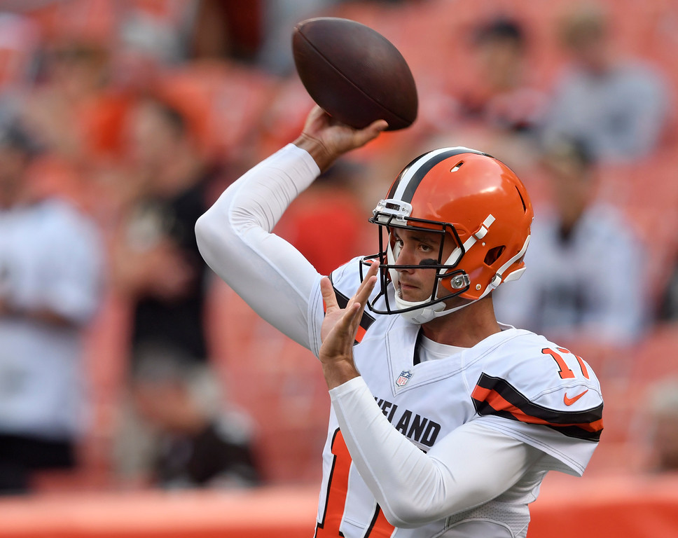 . Cleveland Browns quarterback Brock Osweiler warms up before an NFL preseason football game against the New Orleans Saints, Thursday, Aug. 10, 2017, in Cleveland. (AP Photo/David Richard)