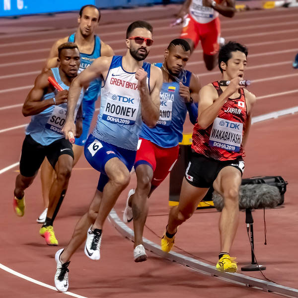 Martin Rooney (GBR) competes in the Men's 4x400m Relay heats during day nine of 17th IAAF World Athletics Championships Doha 2019 at Khalifa International Stadium on October 05, 2019 in Doha, Qatar. Photo by Tom Kirkwood/SportDXB