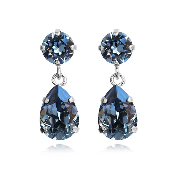 Mini Drop Earrings / Denim Blue / Rhodium
