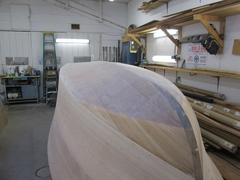 Port bottom and side sanded. Hull ready to go right side up.