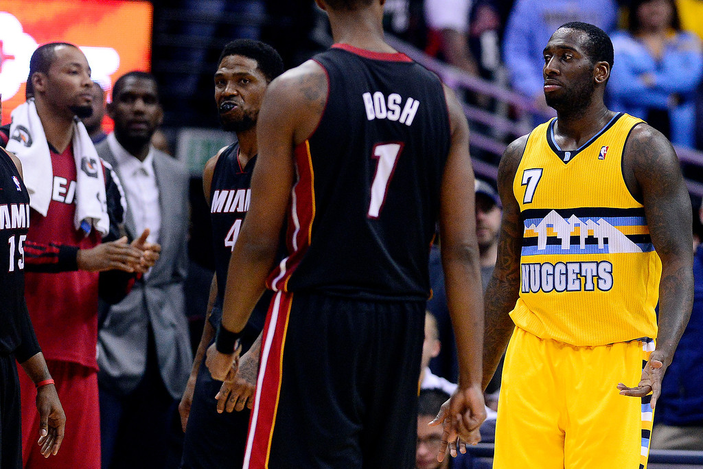 . J.J. Hickson (7) of the Denver Nuggets shrugs after committing a five-second in-bound pass violation with less than two seconds to play against the Miami Heat during the second half of Miami\'s 97-94 win  (Photo by AAron Ontiveroz/The Denver Post)