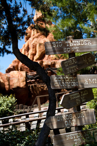 Signpost in the Big Thunder Mountian Queue