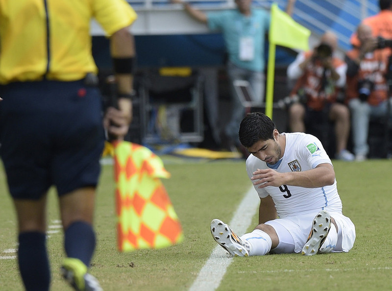 . Uruguay\'s forward Luis Suarez reacts during a Group D football match between Italy and Uruguay at the Dunas Arena in Natal during the 2014 FIFA World Cup on June 24, 2014.   DANIEL GARCIA/AFP/Getty Images