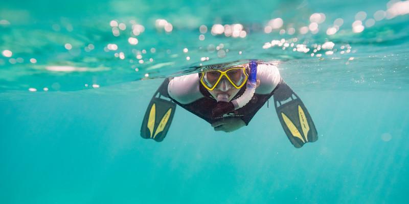 Man snorkeling, Turneffe Atoll, Belize Barrier Reef, Belize
