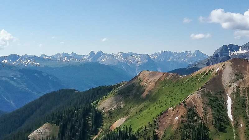 Mountain view from Nancy's.  The Grenadiers to the left of center (Vestal and Arrow peaks) and the 14ers Windom, Eolus and Sunlight to their left (We did Windom in 2013).