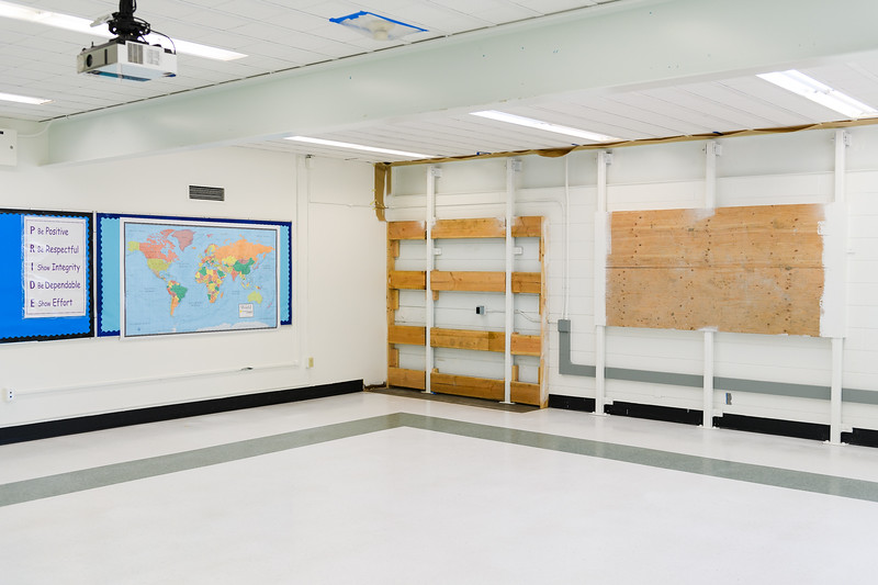 Seismic wall upgrades in Judson Middle School classrooms on Friday, August 16, 2019, in Salem, Ore.
