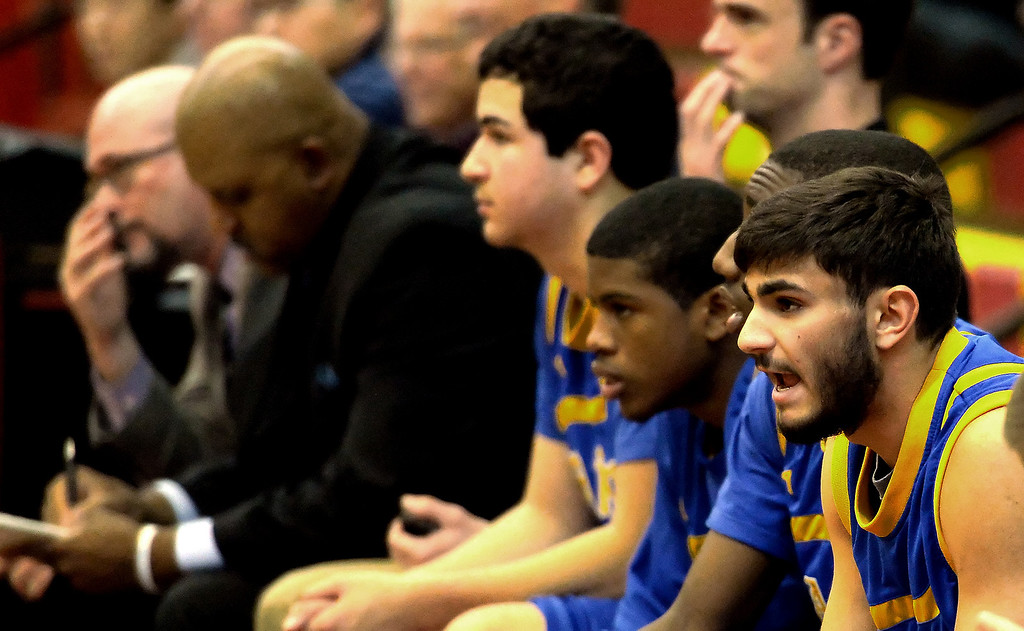 . San Dimas bench in the first half of a prep basketball game against Wilson at Wilson High School in Hacienda Heights, Calif., on Friday, Jan. 31, 2014. (Keith Birmingham Pasadena Star-News)