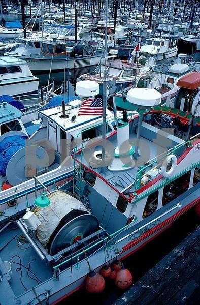 Salmon fishing boats at Friday Harbor, San Juan Islands, Washington.
