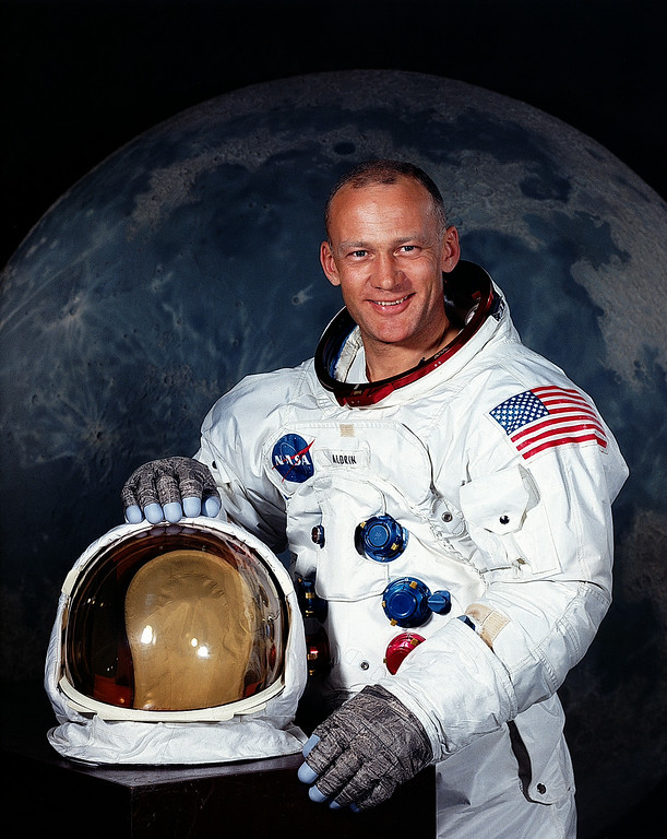 . Handout portrait taken in July 1969 shows US astronaut Buzz Aldrin (born Edwin E. Aldrin, Jr.), Lunar Module pilot on the Apollo 11 moon landing mission. With one small step off a ladder, Neil Armstrong became the first human to set foot on the moon on July 20, 1969, before the eyes of hundreds of millions of awed television viewers worldwide. With that step, he placed mankind\'s first footprint on an extraterrestrial world and gained instant hero status. Joined by fellow astronaut Buzz Aldrin, Armstrong spent about two and a half hours exploring the landscape around the landing site.  Handout/AFP/Getty Images