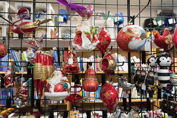 11/30/18 Wesley Bunnell | Staff Christmas decorations and cards for sale at Quo Vadis Bookstore & Giftshop at 106 Broad St in New Britain.