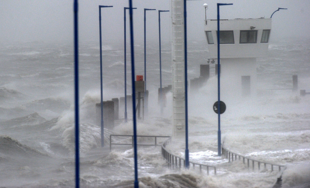 . Waves hit the coast in Dagebuell, Germany, on December 5, 2013. Storm front Xaver has reached the North Sea in Germany.   AFP PHOTO / DPA / CARSTEN REHDER / AFP/Getty Images