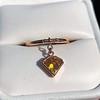 .84ct Fancy Deep Orange-Yellow Shield Shape Diamond Charm Ring 5
