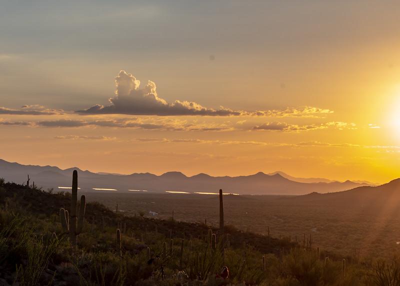 Sunset over Tucson Mountains