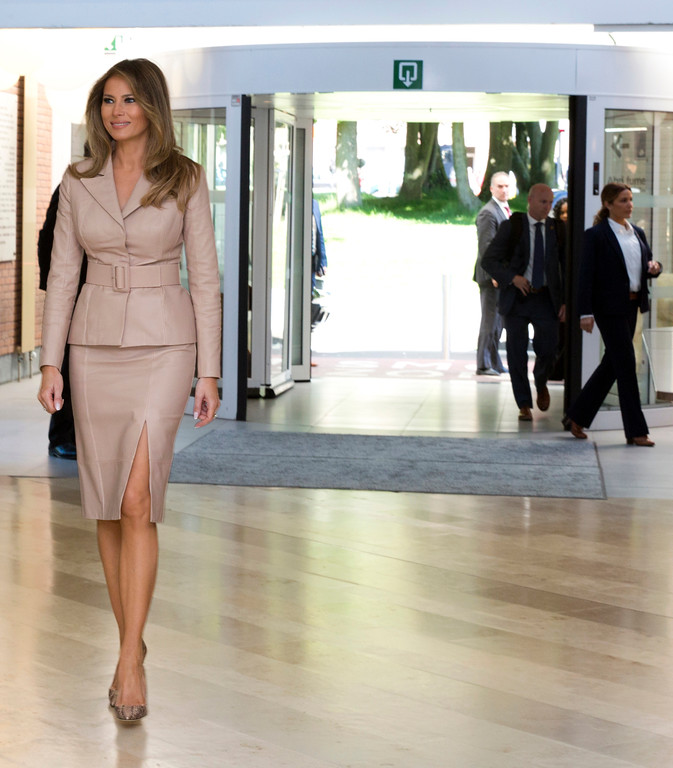 . FILE - In this Thursday, May 25, 2017 file photo, US first lady Melania Trump, arrives at the Queen Fabiola Childrens Hospital in Brussels.  (AP Photo/Virginia Mayo, File)