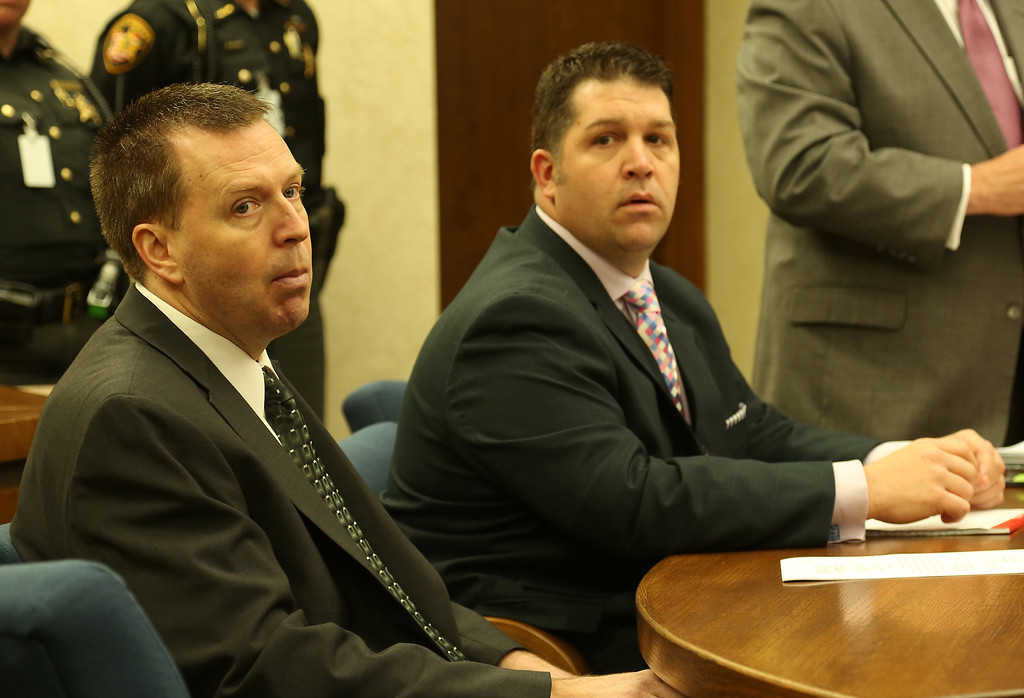 . Michael Allen Blair/MBlair@News-Herald.com Kevin Knoefel and his attorney Gary Vick Jr.listen in during testimony for Knoefel\'s conspiracy trial in Lake County Common Pleas Court on  June 2, 2014.