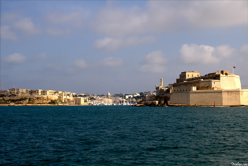 Valletta Harbor, Malta.   View towards Kalkara village with 