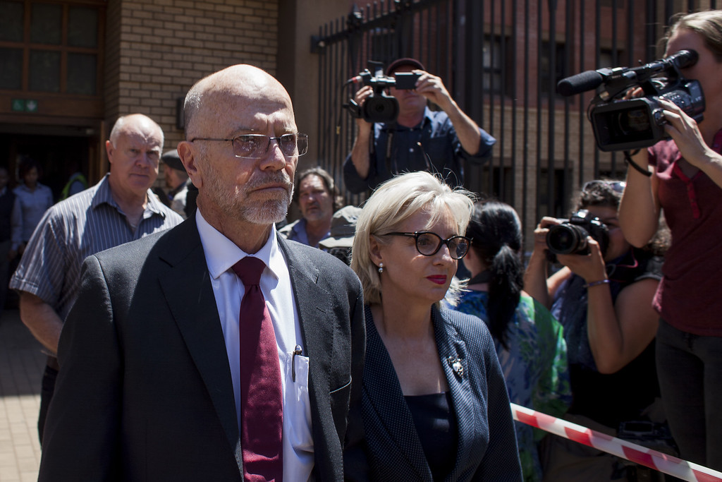 . Arnold and Lois Pistorius, uncle and aunt of Oscar, leave the North Gauteng High Court on October 21, 2014 in Pretoria, South Africa.  (Photo by Charlie Shoemaker/Getty Images)