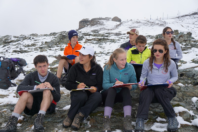 Michael, Bennitt, Abby, Abigael, Billy, Jack, Laila, and Claire working on a geology lab
